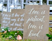 1 Corinthians 13 signs, Love Never Fails signs, Love is Patient Signs, Aisle Signs, Wedding Verse Signs, 1 Cor 13 Wedding Signs