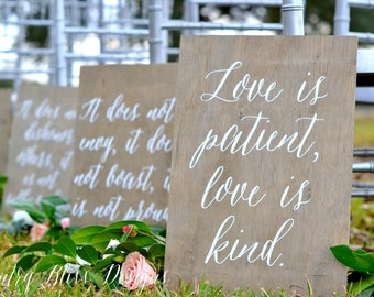Set of 1 Corinthians 13 signs, Love Never Fails signs, Love is Patient Signs, Aisle Signs, Wedding Verse Signs, 1 Cor 13 Wedding Signs