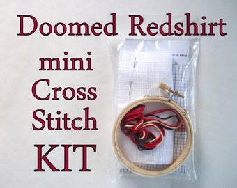 Cross Stitch Kit -- Doomed Redshirt single shirt, beginner-intermediate Mini cross stitch DIY kit