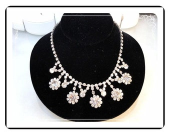 Dangling Flowers Necklace -Vintage Rhinestones for a Vintage Bride Neck-1450a-012312000