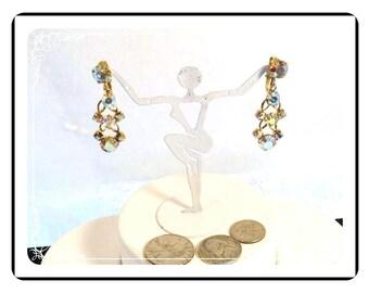 AB Dangling Earrings - Gorgeous Vintage Aurora Borealis Dangling Earrings  E1457b-080712000