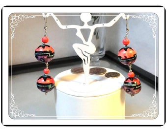 Colorful Dangling Earrings - Wow Bright Vintage    E269a-120413000
