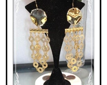 Goldtone Dangling Earrings - Awesome Out Of Sight Circle Pierced   E138a-120413000