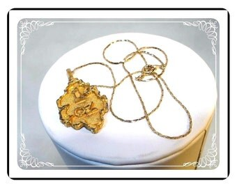 Vintage Novelty Necklace - Faux gold 1 oz gold Nugget and Chain - Neck-2006a-122512000