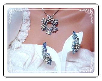 D&E Juliana Pendant Demi  -  Delightful Powder Blue and Aurora Borealis  Demi-724a-022608070
