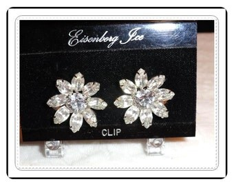 Eisenberg Ice Earrings - Vintage Rhinestone Flower Clip-on Earrings E852a-031414002