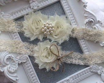 Pearls and Crystals Ivory Garter Set, Burlap, Wedding Garter Set, Burlap, Vintage Garter Set, Bridal Garter, Garder, Wedding Garder, Rustic,
