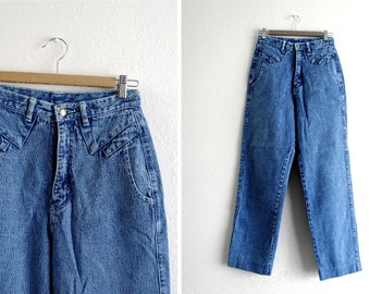 Vintage High Waisted Jeans - 90s Denim Jeans - Pleated - Bright Blue Acid Wash - Ethics - Womens Jeans - Waist 26
