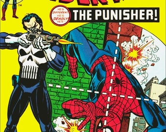 Marvel The Amazing Spiderman No.129 THE PUNISHER Stand-Up Display - Collectibles Collection Collector Memorabilia Retro Look Gift Idea