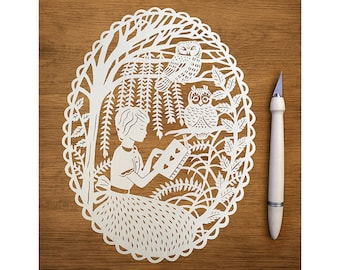 """Original Papercut - Girl Reading with the Owls - Handcut 8x10"""" Paper Illustration"""