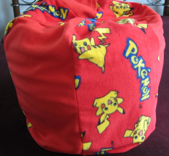 Pikachu Pokemon Bean Bag Chair With Name Childs Pouf