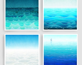 Any FOUR Prints - Save 30%,Giclee Art prints Home decor Living room art Wall art Gift ideas Turquoise Blue