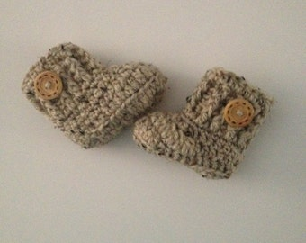 SALE Crochet Baby Boots , Baby Booties Oatmeal  , Crib Shoes , Newborn Shoes Baby Shower Gift Baby Shoes Made To Order