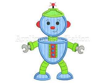 Robot Applique Machine Embroidery Design Download blue boy baby INSTANT DOWNLOAD