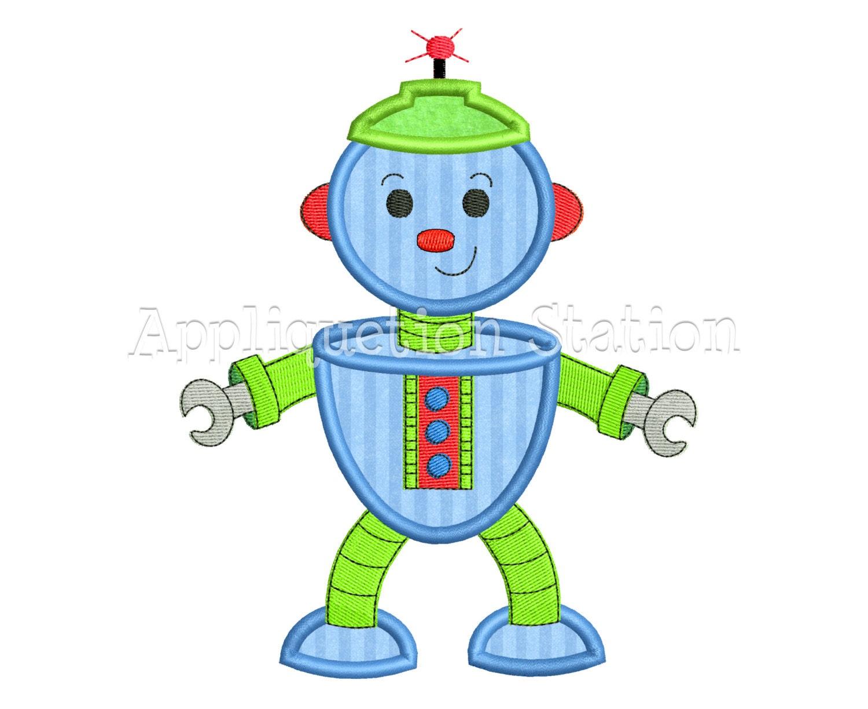Robot applique machine embroidery design download blue boy