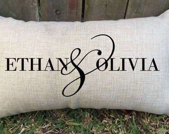 """Spoil your partner with this gorgeous couples pillow, perfect for 2nd wedding anniversary """"cotton"""", valentine's day, proposal gift and more"""