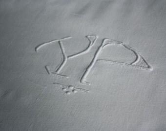 vintage linen sheet, YP monogrammed linen