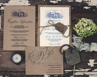 Rustic Burlap Barn Wedding Invitation Suite