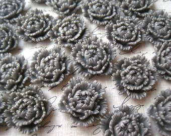 10 pcs Gray Resin Flower Cabochons / 24mm Slate Gray Ruffle Petal Flowers / Carnation Cabochon / Perfect for DIY Jewelry Projects