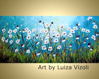 Print on Paper or Canvas Signed Giclee of Original Painting by Luiza Vizoli DAISY FLOWERS