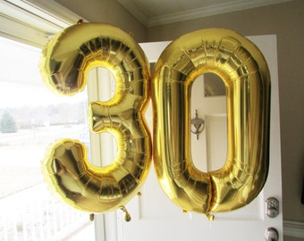 """34"""" 30th Birthday Giant Balloons, Gold Balloons, Huge Number Balloons, Dirty 30, 30th Birthday Party Decoration, 30th Anniversary, Thirtieth"""