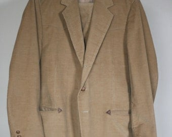vintage mens western corduroy suit by farrah size 42
