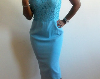 Vintage 50s Blue Lace Pinup Wiggle Dress