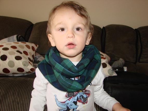 Blackwatch Baby Boy Plaid Infinity Scarf Green Navy Flannel
