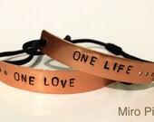 Handstamped Copper Metalstamp Set Bracelet of 2 For Couples Or Best Friends