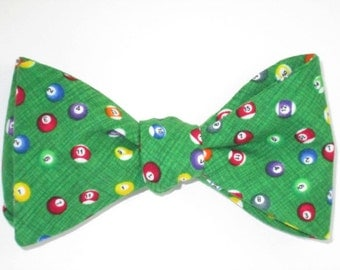 Mens Bow Tie Pool Billiard Ball Polka Dot Freestyle Self Tie Your Own BowTie