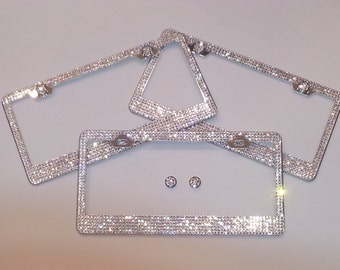 Beautiful Swarovski Crystal License Plate Frame 5-6 rows with or without matching screw caps -OR- screw caps only