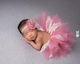 Dusty Rose tutu set, tutu set, Rose tutu set, lace tutu set, newborn photo prop, photigraphy prop, tutu set