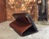 IPHONE 5/5S portfolio case vintage brown leather and rosewood case