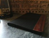 IPAD mini 2,3,and retina case, vintage looking hand polished exotic rosewood , black LEATHER, real wood and leather , black edge