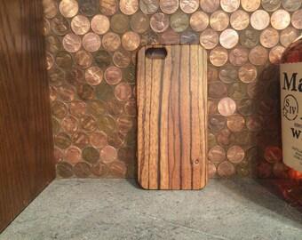 WOOD  IPHONE 6/S EXOTICGRAIN case  hand  polished exotic zebra wood  back ,real wood ,sharp looking black edge