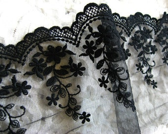 black lace trim , cotton embroidered mesh lace with scalloped trim, retro floral lace