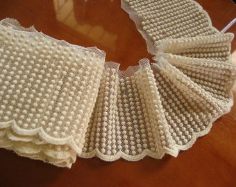 cream cotton lace trim , embroidered mesh lace with lace beads, polka dots lace, crafting supplies