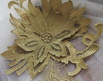 metallic gold lace applique, gold peony flower lace applique, gold hair flower, headpiece