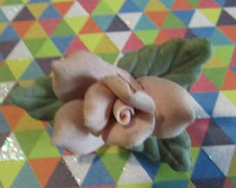 Pink and  green 3 dimensional   pink rose clay pin brooch