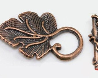 2 Sets Copper Color Grape Leaf Large Toggle Clasps (31)