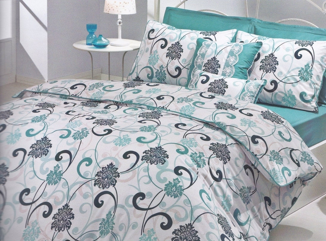 Twin Dorm Bedding Set In Mint Green Teal Blue By Myveralinen