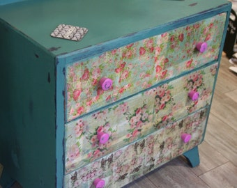 Decoupaged Floral Chest of Drawers, Distressed, Shabby Chic, Bedroom Drawers, Made to Order