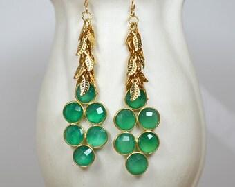 Green onyx earrings Long gold chandelier earrings Big earrings Bezel gemstone cluster earrings Gold leaf earrings Jewelry for women