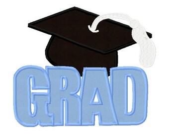 "Graduation Cap With ""GRAD"" Phrase DIY Applique Designs For Embroidery Machines- Instant Download"