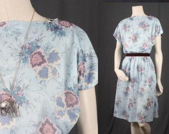 Blue floral dress vintage midi dress fifties sixties women size S small