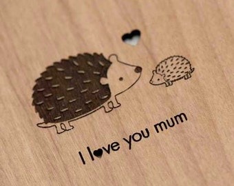 Hedgehog Mother's or Father's Day Wood Laser-Cut Card
