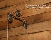 3-Pulley Pulley Wall Mount -  for your Trouble Light Pendant - Industrial Wall Sconce - Wall Mount Only - Pendant Light/Wire Not included