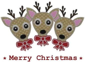 Iron on Applique Christmas 3 Reindeer Patches