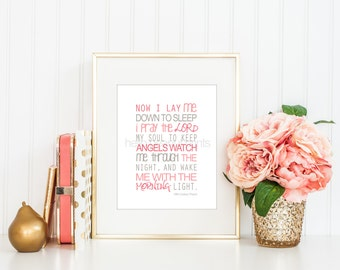 8 x 10 Nursery Print - Baby Art, Children Decor, Baby Shower Gift (Now I lay me, Pink and Grey)