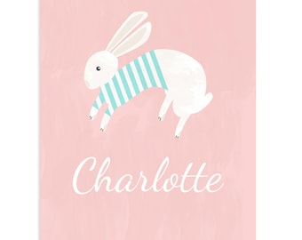 Customized Baby Art Print Rabbit Bunny Newborn Baby Name Blue Pink Girl Boy Cute Red Yellow Green Wall Decor